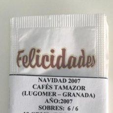 Sobres de azúcar de colección: SERIE 6 SOBRES AZUCAR - NAVIDAD 2007 - CAFES TAMAZOR - LUGOMER GRANADA . Lote 97668375