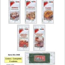 Sobres de azúcar de colección: CAFÉ & TÉ.- 5 SOBRES DE AZÚCAR / SERIE COMPLETA / AÑO 2008. Lote 103113559