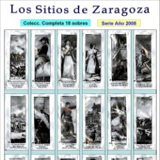 Sobres de azúcar de colección: LOS SITIOS DE ZARAGOZA.- 18 SOBRES DE AZÚCAR. SERIE COMPLETA / AÑO 2008. Lote 103583919