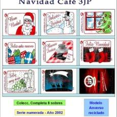 Sobres de azúcar de colección: NAVIDAD CAFÉ 3JP.- 8 SOBRES DE AZÚCAR. MOD. ANV. RECICLADO SERIE NUMERADA COMPLETA / AÑO 2002. Lote 103673583