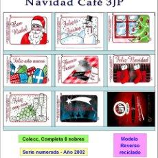 Sobres de azúcar de colección: NAVIDAD CAFÉ 3JP.- 8 SOBRES DE AZÚCAR. MOD. ANV. SIN RECICLADO SERIE NUMERADA COMPLETA / AÑO 2002. Lote 103673755