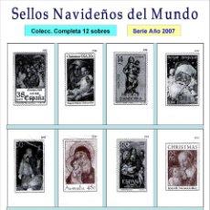 Sobres de azúcar de colección: SELLOS NAVIDEÑOS DEL MUNDO.- 12 SOBRES DE AZÚCAR. SERIE COMPLETA / AÑO 2007. Lote 104429439