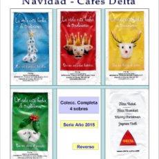 Sobres de azúcar de colección: NAVIDAD CAFÉS DELTA.- 4 SOBRES DE AZÚCAR / SERIE COMPLETA / AÑO 2015. Lote 104429075