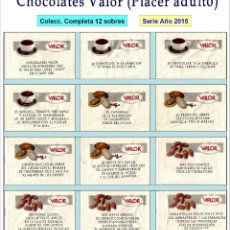 Chocolates Valor - (Placer Adulto).- 12 Sobres de Azúcar / Serie Completa / Año 2005