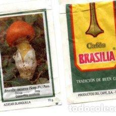 Sobres de azúcar de colección: SOBRE DE AZUCAR SUGAR PACKET - CAFES BRASILIA REUS MICOLOGIA SETAS - 10 GR.. Lote 105837403