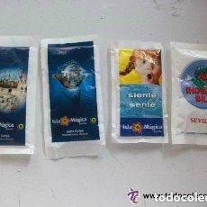 Sobres de azúcar de colección: LOTE DE 4 SOBRES DE AZUCAR DE SEVILLA , ENTEROS : DE ISLA MAGICA E INDIANA BILL. Lote 115321191