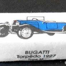 Sobres de azúcar de colección: ANTIGUO TERRÓN DE AZÚCAR - ENTERO - SERIE COCHES BUGATTI TORPÉDO 1927 - ERSTEIN - COL. SCHLUMPF. Lote 123727439