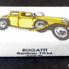 Sobres de azúcar de colección: ANTIGUO TERRÓN DE AZÚCAR - ENTERO - SERIE COCHES BUGATTI BERLINE 1934 - ERSTEIN - COL. SCHLUMPF. Lote 123727911