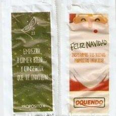 Sobres de azúcar de colección: SOBRE OQUENDO. NAVIDAD. PAPA NOEL / PROPOSITO-4. EMPEZAR A COMER BIEN - VERDE. REF. 25-1317. Lote 133750866