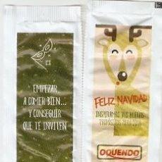 Sobres de azúcar de colección: SOBRE OQUENDO. NAVIDAD. CIERVO / PROPOSITO-4. EMPEZAR A COMER BIEN - VERDE. REF. 25-1318. Lote 133751158