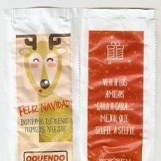 Sobres de azúcar de colección: SOBRE OQUENDO. NAVIDAD. CIERVO / PROPOSITO-5. VER A LOS AMIGOS CARA A CARA. REF. 25-1319. Lote 133751410