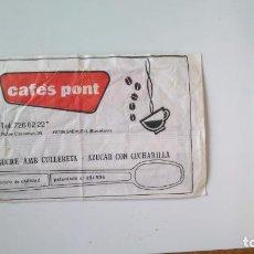 Sobres de azúcar de colección: SOBRE AZÚCAR VACÍO CAFES PONT SABADELL. Lote 135583854