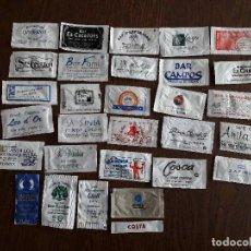 Sobres de azúcar de colección: LOTE DE 30 SOBRES DE AZUCAR VACÍOS DE BARES, HOTELES, RESTAURANTES.. Lote 142104474