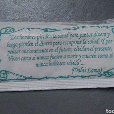 Sobres de azúcar de colección: SOBRE DE AZÚCAR CON FRASE DALAI LAMA. Lote 146572197