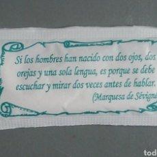 Sobres de azúcar de colección: SOBRE DE AZÚCAR CON FRASE MARQUESA DE SEVIGNE. Lote 147545633