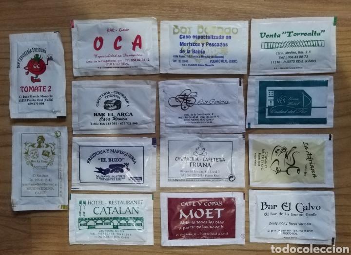 14 SOBRES DE AZÚCAR PUERTO REAL CÁDIZ BARES RESTAURANTES HOTELES (Coleccionismos - Sobres de Azúcar)