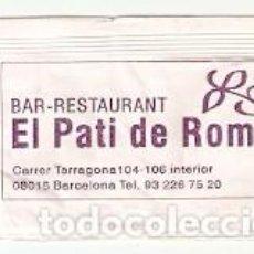 Sobres de azúcar de colección: SOBRE AZUCAR. BAR RESTAURATE. EL PATI DE ROMA. BARCELONA. REF. 25-1367. Lote 156001978