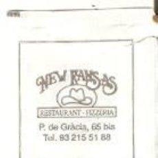 Sobres de azúcar de colección: SOBRE AZUCAR. NEW KANSAS. REST. PIZZERIA. BUSINES. CAFÉ REST. BARCELONA. REF. 25-1374. Lote 156002882