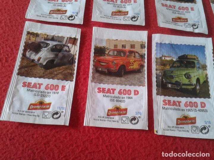 Sobres de azúcar de colección: COLECCIÓN COMPLETA DE 16 SOBRES AZÚCAR COCHES COCHE DEL SEAT 600 CAFÉS DROMEDARIO. AMIGOS CANTABRIA - Foto 4 - 170363816
