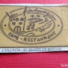 Sobres de azúcar de colección: ANTIGUO SOBRE AZÚCAR - JAN FABREGAN RESTAURANT - CASTELLTERCOL - VACÍOS - (VER FOTOS). Lote 191855275