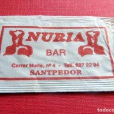 Sobres de azúcar de colección: ANTIGUO SOBRE AZÚCAR - NURIA BAR SANTPEDOR - VACÍOS - (VER FOTOS). Lote 191857722