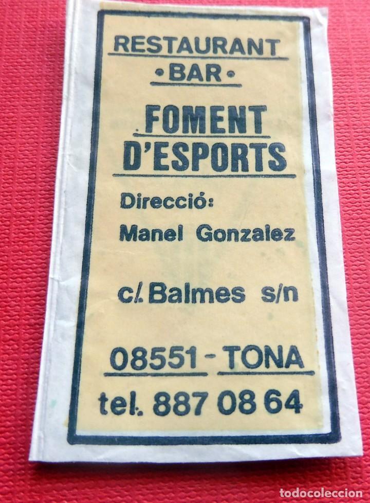 ANTIGUO SOBRE AZÚCAR - RESTAURANT BAR FOMENT D'ESPORTS - TONA - VACÍOS - (VER FOTOS) (Coleccionismos - Sobres de Azúcar)