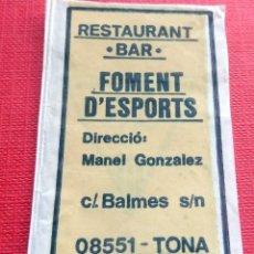 Sobres de azúcar de colección: ANTIGUO SOBRE AZÚCAR - RESTAURANT BAR FOMENT D'ESPORTS - TONA - VACÍOS - (VER FOTOS). Lote 191857897