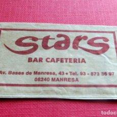 Sobres de azúcar de colección: ANTIGUO SOBRE AZÚCAR - STARS - BAR CAFETERÍA - MANRESA - VACÍOS - (VER FOTOS). Lote 191858110
