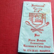 Sobres de azúcar de colección: ANTIGUO SOBRE AZÚCAR - RESTAURANT LA PARADA - MANRESA - VACÍOS - (VER FOTOS). Lote 191858160