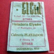 Sobres de azúcar de colección: ANTIGUO SOBRE AZÚCAR - HOTEL EL CID - SITGES - VACÍOS - (VER FOTOS). Lote 191858182