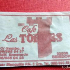 Sobres de azúcar de colección: ANTIGUO SOBRE AZÚCAR - CAFÉ LAS TORRES - BENIDORM - VACÍOS - (VER FOTOS). Lote 191858267