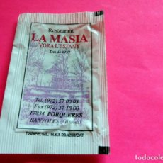 Sobres de azúcar de colección: SOBRE AZÚCAR - RESTAURANT LA MASIA - PORQUERES - GIRONA - (VER FOTOS) - . Lote 194519972