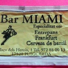 Sobres de azúcar de colección: SOBRE AZÚCAR - BAR MIAMI I MIAMIDOS - PUIGCERDÀ - GIRONA - (VER FOTOS) - . Lote 194524425