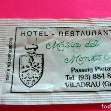 Sobres de azúcar de colección: SOBRE DE AZÚCAR - RESTAURANT MASIA DEL MONTSENY - VILADRAU - GIRONA - (VER FOTOS) - VACÍOS. Lote 194768807