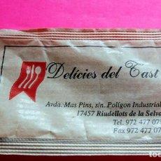 Sobres de azúcar de colección: SOBRE DE AZÚCAR - DELÍCIES DEL TAST - RIUDELLOTS DE LA SELVA - GIRONA - VER FOTOS - VACÍOS. Lote 195023685
