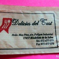 Sobres de azúcar de colección: SOBRE DE AZÚCAR - DELÍCIES DEL TAST - RIUDELLOTS DE LA SELVA - GIRONA - VER FOTOS - VACÍOS. Lote 195023727
