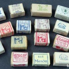 Sobres de azúcar de colección: 19 AZUCARILLOS TERRÓN AZÚCAR MANILA CALIFORNIA PONFERRADA Y OTROS AÑOS 50 - 60. Lote 196775373