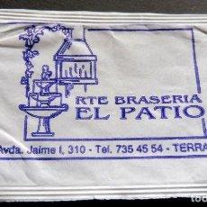 Bustine di zucchero di collezione: SOBRE DE AZÚCAR - RESTAURANTE EL PATIO - TERRASSA - BARCELONA. Lote 197782017