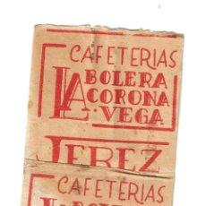 Sobres de azúcar de colección: JEREZ DE LA FRONTERA CAFETERIA LA BOLERA CORONA VEGA ESTUCHADO - SOBRE AZUCAR - AÑOS 50 - . Lote 198471856