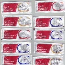 Sobres de azúcar de colección: LAS 7 MARAVILLAS DEL MUNDO - LOTE DE SOBRES DE AZÚCAR. Lote 200543858