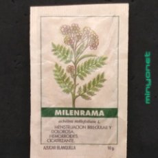 Sobres de azúcar de colección: SOBRE DE AZÚCAR SERIE PLANTAS MEDICINALES - MILENRAMA. CAFÉS BRASILIA. PRODUCTOS DEL CAFÉ, 10 GR.. Lote 205775605