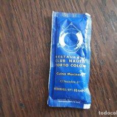 Sobres de azúcar de colección: SOBRE DE AZUCAR LLENO DE PUBLICIDAD, RESTAURANTE CLUB NÁUTICO, PORTO COLOM. MALLORCA.. Lote 205865276