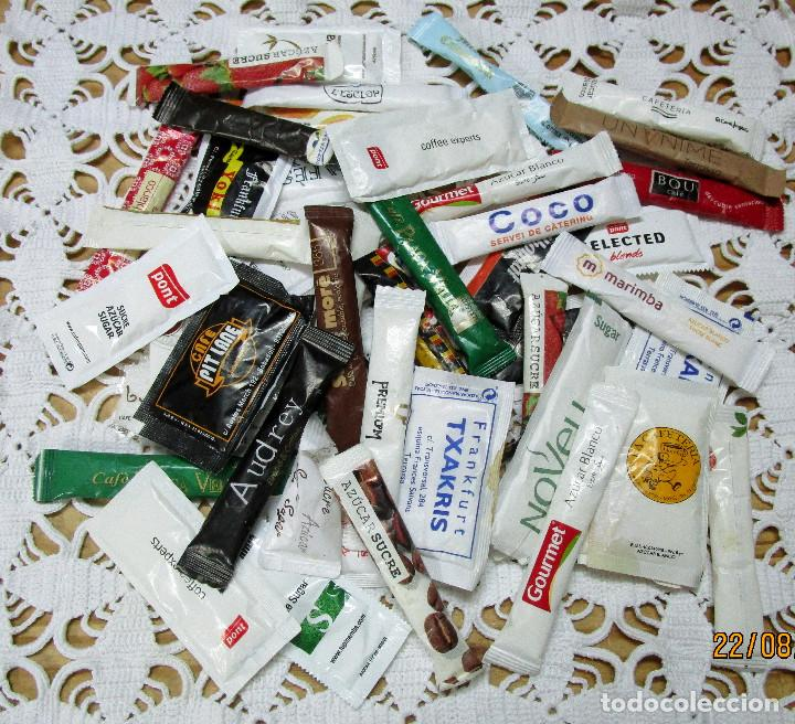 LOTE DE 50 SOBRES DE AZUCAR PUBLICITARIOS SIN ABRIR (Coleccionismos - Sobres de Azúcar)