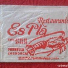 Sobres de azúcar de colección: SOBRE DE AZÚCAR PACKET OF SUGAR SUCRE ZUCKER ZUCCHERO RESTAURANTE ES PLA FORNELLS MENORCA VER FOTOS. Lote 221437968