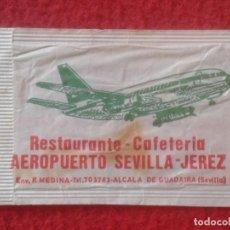 Sobres de azúcar de colección: SOBRE DE AZÚCAR PACKET OF SUGAR SUCRE ZUCKER ZUCCHERO AEROPUERTO SEVILLA JEREZ CAFÉS CATUNAMBÚ VER... Lote 221440363
