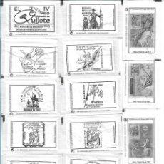 Pacotes de Açúcar de coleção: IV CENTENARIO PUBLICACION QUIJOTE, ASOCIACI FILATELICAS, 16 SOBRES AZÚCAR VACIOS. CLUB TRABUQUEÑO. Lote 221595277