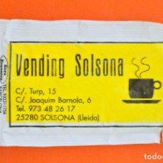 Sobres de azúcar de colección: SOBRE DE AZÚCAR VACIO DE PUBLICIDAD VENDING SOLSONA , SOLSONA , ESPAÑA. Lote 221933290