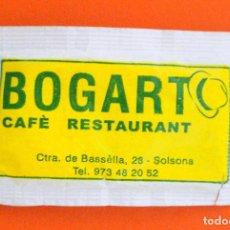 Sobres de azúcar de colección: SOBRE DE AZÚCAR VACIO DE PUBLICIDAD CAFÈ RESTAURANT BOGART, SOLSONA , ESPAÑA. Lote 221934628