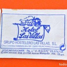 Sobres de azúcar de colección: SOBRE DE AZÚCAR VACIO DE PUBLICIDAD HOTEL LAS VILLAS, VILLACARRILLO, JAEN , ESPAÑA. Lote 221941365
