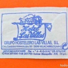 Sobres de azúcar de colección: SOBRE DE AZÚCAR VACIO DE PUBLICIDAD HOTEL LAS VILLAS, VILLACARRILLO, JAEN , ESPAÑA. Lote 228087520